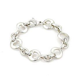 Tiffany & Co. 1999 Sterling Silver Stencil Hearts Round Link Bracelet