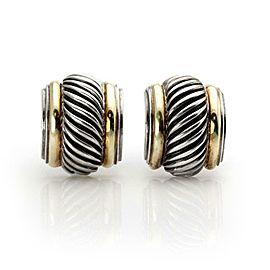 David Yurman Sterling Silver 14k Yellow Gold Cable Huggie Earrings