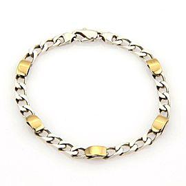 Tiffany & Co. 18k Gold Sterling Silver 5mm Wide Curb Link Chain Bracelet