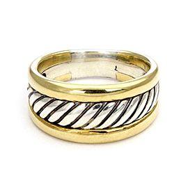 David Yurman Sterling 14k Yellow Gold Cigar Band Ring Size - 7