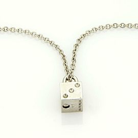 Tiffany & Co. Vintage Sterling Silver Domino Box Pad Lock & Chain Necklace