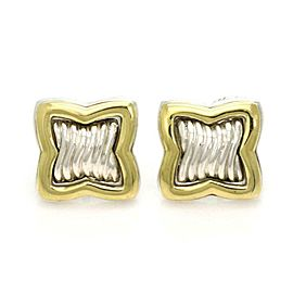 David Yurman Sterling 18k Yellow Gold Quatrefoil Cable Stud Earrings