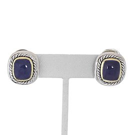 David Yurman Albion Chalcedony Sterling 14k Yellow Gold Post Clip Earrings
