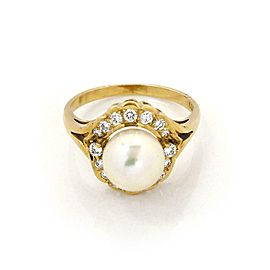 Mikimoto Diamond 8.5mm Akoya Pearl 18k Yellow Gold Cocktail Ring Size 6