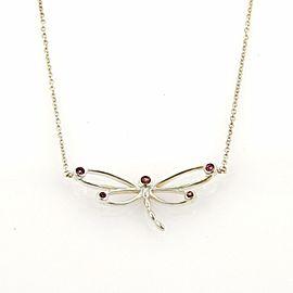 Tiffany & Co. Rhodolite Garnet Sterling Silver Dragonfly Pendant Necklace