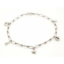 """Tiffany & Co. Peretti Sterling Silver 5 Charms Oval Chain Link Necklace 15"""""""
