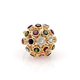 Retro Multicolor Gemstone 18k Pink Gold Sputnik Dome Ring Size 6