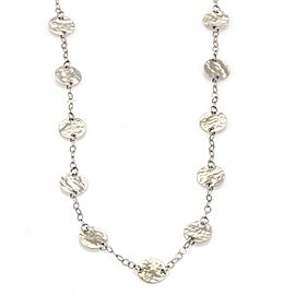 """14k White Gold 7mm Hammered Disc Station Long Chain Necklace 36"""""""