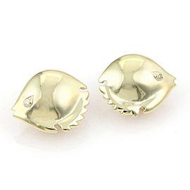 Pretty 14kt Yellow Gold & Diamond Puffer Fish Stud Earrings