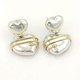 Tiffany & Co. 18k YGold & Sterling Silver Arrow Hearts Drop Dangle Earrings