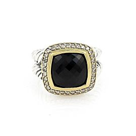 David Yurman Albion Diamond Onyx Sterling 18k Yellow Gold Cable Band Ring
