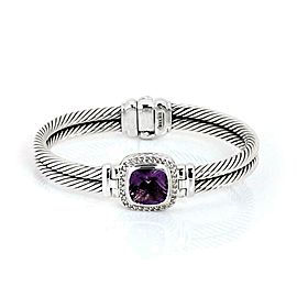 David Yurman 8.36ct Amethyst Diamond Sterling Silver 2 Cable Band Bracelet