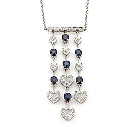 4ct Diamond & Sapphire 14k Gold Hearts Triple Strand Drop Pendant Necklace