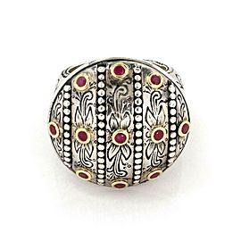 Konstantino Ruby 925 Sterling 18k Yellow Gold Round Floral Ring Size 7