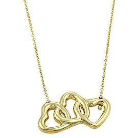 Tiffany & Co. Interlaced 18k Yellow Gold Triple Hearts Pendant & Chain
