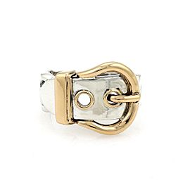 Hermes Sterling Silver 18k Yellow Gold Belt Buckle Band Ring Size 6 France