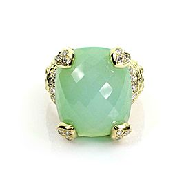Judith Ripka 1.00ct Diamond Green Chalcedony Fancy 18k Gold Ring Size 8.5