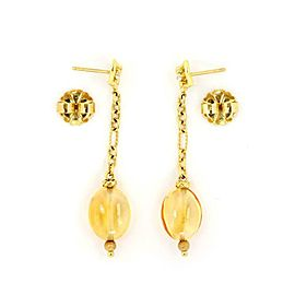 David Yurman Quatrefoil Diamond Citrine 18k Gold Drop Dangle Earrings
