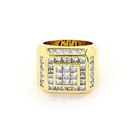 Men's 6 Carats Princess Cut Diamond 18k Yellow Gold Large Ring Size 9