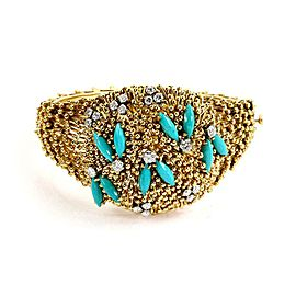Vintage 1.25ct Diamond Turquoise 18k Yellow Gold Bead Dome Bangle Bracelet