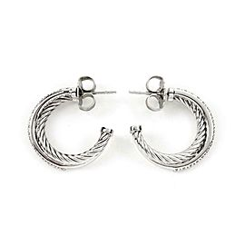 David Yurman Crossover Diamond 925 Silver 14k White Gold Hoop Earrings