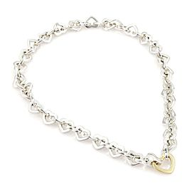 Tiffany & Co. Sterling Silver 18k Yellow Gold Heart Link Necklace 2000