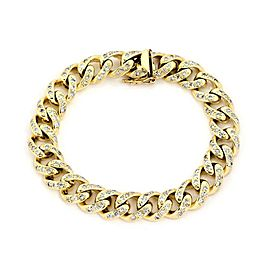 "Classic 4ct Diamond 14k Yellow Gold Curb Link Chain Bracelet 8.5"" Long"