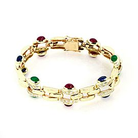 Classic 14k Yellow Gold 6.70ct Diamond Ruby Sapphire Emerald Link Bracelet