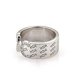 Cartier Logo Double C Diamond 18k White Gold Cuff Band Ring Size 50-US 5