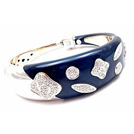 Authentic! La Nouvelle Bague 18k White Gold Diamond Enamel Bangle Bracelet