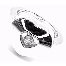 Authentic! Chopard 18k White Gold Happy Diamond Heart Ring