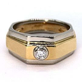 Hermes Diamond 18k Two Tone Gold Octagon Design Band Ring Size - 5
