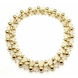 Authentic! Boucheron Paris 18k Yellow Gold 2.2ct Diamond Rock Crystal Necklace