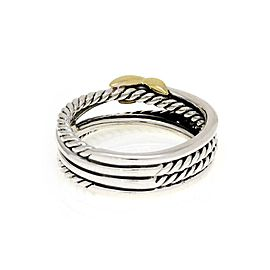 David Yurman 925 Silver 18k Yellow gold Crossover Cable X Band Ring Size 6