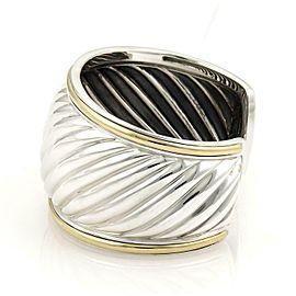 "David Yurman Sterling Silver 18k Yellow Gold Wide Cable Cuff Band Bracelet 6"""