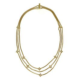 64498 David Yurman Quatrefoil Diamond 18k Yellow Gold Triple Strand Necklace