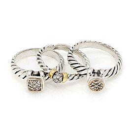 David Yurman Diamond 925 Silver 18k Gold Set of 3 Cable Rings Size 7
