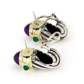 David Yurman Amethyst Green Onyx 925 Silver 14k Gold Shrimp Cable Earrings