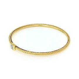 """David Yurman Confetti Pave Diamond 18k Yellow Gold Cable Bangle 7.5"""""""