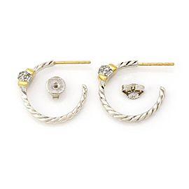 David Yurman Diamond 925 Silver 18k Gold 19mm Hoop Earrings