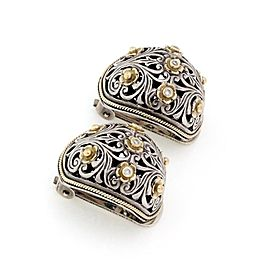 64560 Konstantino Diamond 925 Silver 18k Gold Floral Dome Clip On Earrings