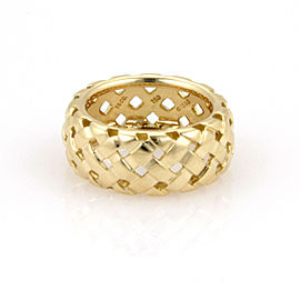 Tiffany & Co. 18K Yellow Gold 9mm Vannerie Basket Woven Ring - Size 5