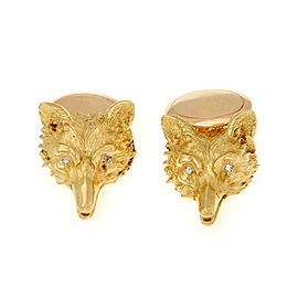 Diamond 14k Yellow Gold Detailed Fox Head Chain Cufflinks