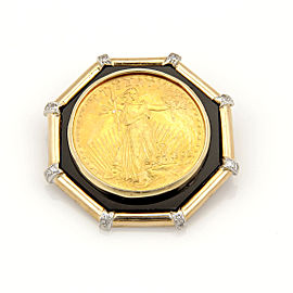 Estate 14K and 22K Yellow Gold Liberty Coin Slider Pendant with Onyx & Diamonds