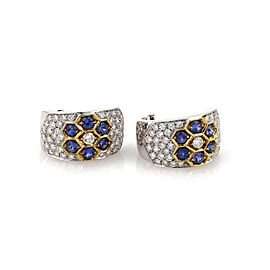 Vanity 4.50ct Diamond & Sapphire 18k Gold Curved Wide Clip On Earrings