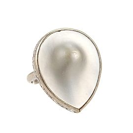 Art Deco Blister Pearl 14k White Gold Scroll Design Pear Shape Ring