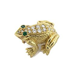 18k Yellow Gold 1.18ct Diamond & Emerald 3D Frog Brooch Pin