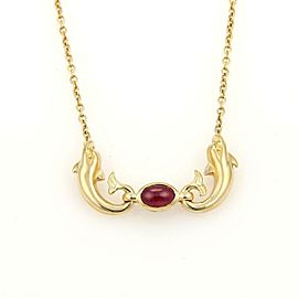 Carrera y Carrera Cabochon Ruby 18k Yellow Gold Double Dolphin Pendant Necklace