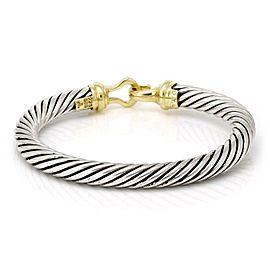 David Yurman 14k Yellow Gold 925 Silver Cable Hook & Eye Bangle Bracelet