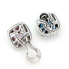 David Yurman Albion Diamond Amethyst Topaz Sterling Silver Clip On Earrings